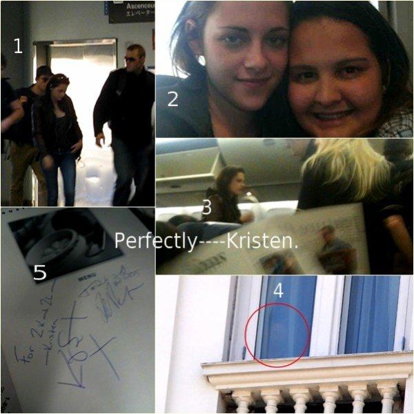 """La journée du 5/11. 1 : Kristen se trouvant à l' aéroport de la Nouvelle-Orléans, pour aller en direction de Rio De Janeiro ; 2 : En compagnie d'une fan ; 3 : Dans l'avion ; 4 : Kristen dans l' hôtel """"COPACABANA PALACE"""" à Rio De Janeiro ; 5 : Autographes de Kristen & Robert"""