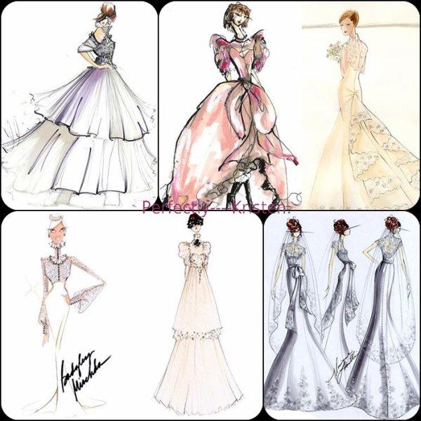 De magnifiques croquis de robes de mariées pour Bella.