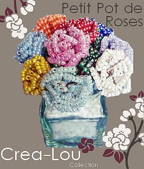 Pot en Verre et ses Roses Multicolores