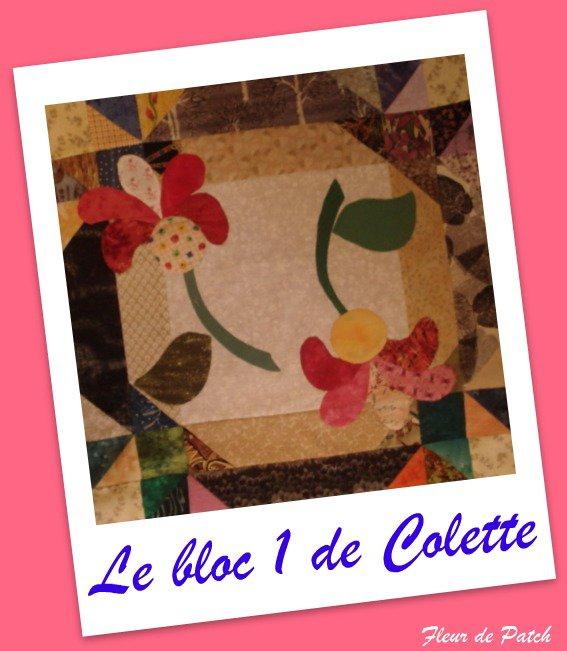 Patchwork Appliqué - Le 1er bloc de Colette