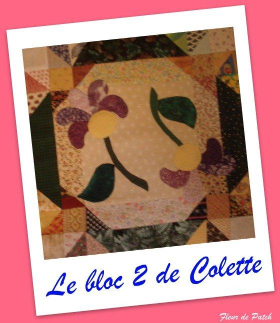 Patchwork, Appliqué - Le bloc 2 de Colette