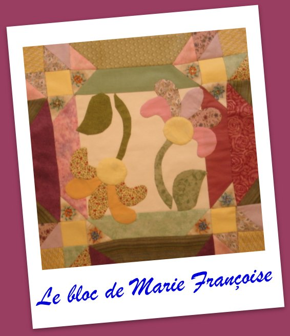 Patchwork Appliqué - Le bloc de Marie Françoise