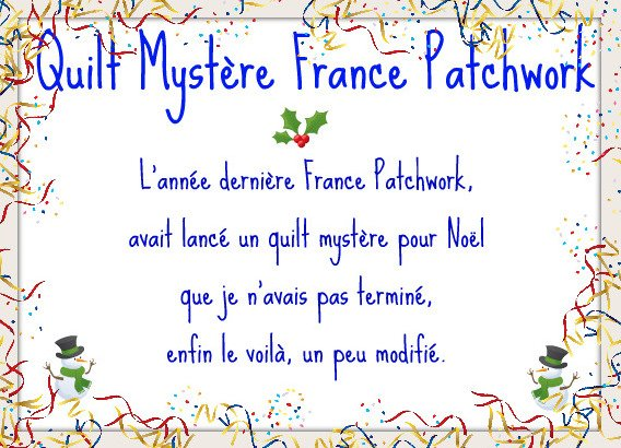 Quilt Mystère Noel 2010 France Patchwork
