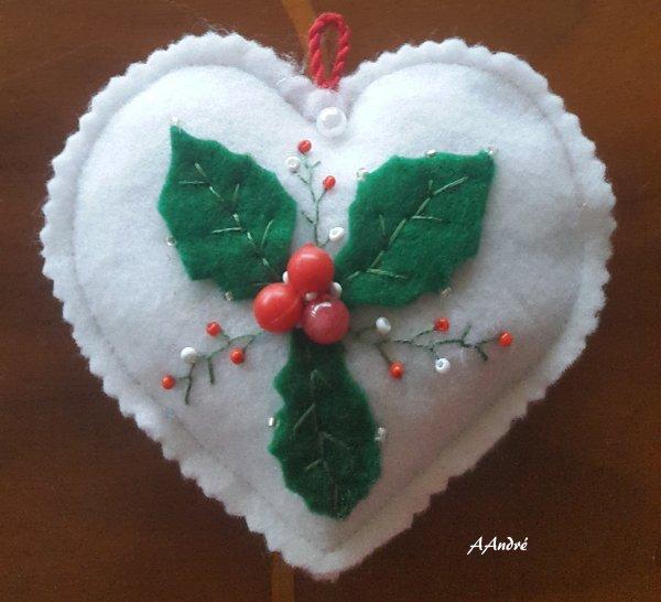 Feutrine - coeur pour Noël