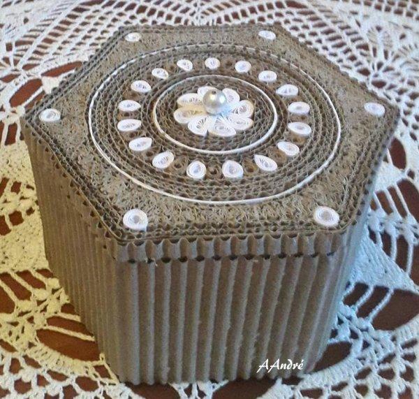 Cartonnage - Dentelle de carton boite hexagonale