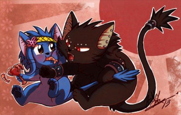 ~ blue cat and black cat arguing for shrimps ~