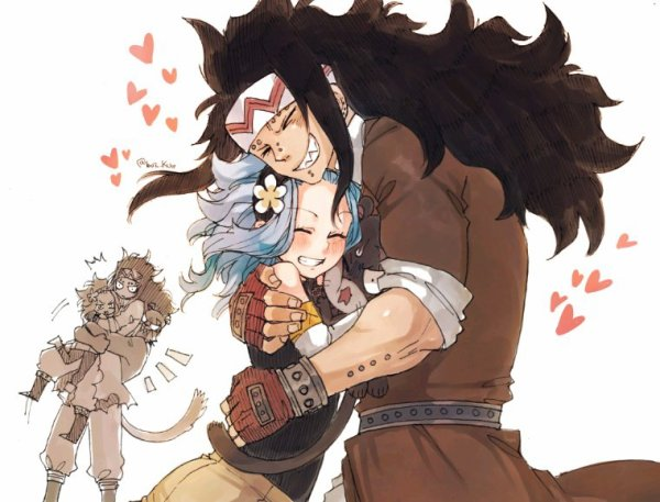 ♥️ Gajeel + Levy = calin ~ Mais gajeel + Levy + panthère lily = BIG CALIN ♥️