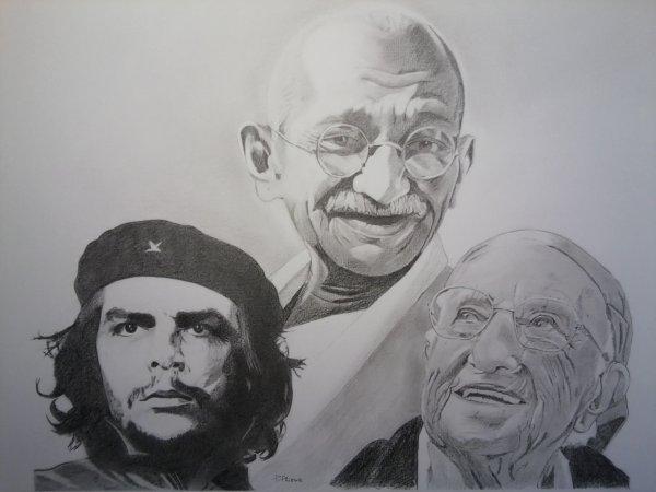 Che Guevara, Soeur Emmanuelle, Mahatma Gandhi