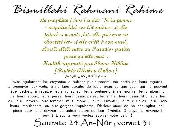 """__________________________La femme pieuse Hadith rapporté par Mouslim[Radhia Allahou Anhou]  __________Ril______________le Messager de Dieu  a dit:""""Le monde entier est une provision et la   __________________________meilleure chose au mondeest une femme pieuse."""""""