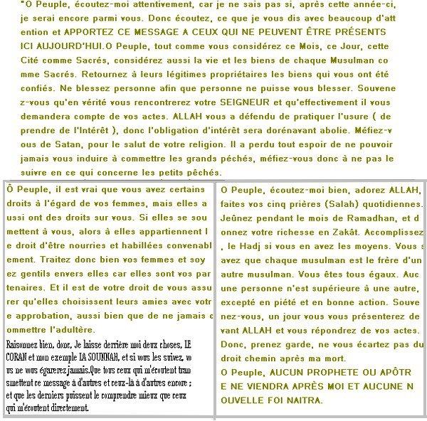 . Les Dernières Paroles Du Prophète SAW,Si Ta De La Foie Lis! .