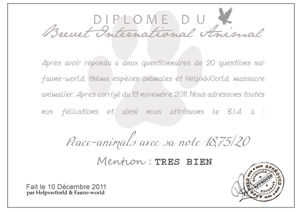 DIPLOME DU B.I.A. : Peace-animals