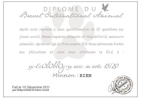DIPLOME DU B.I.A. : xx-EcOlOblOg-xx