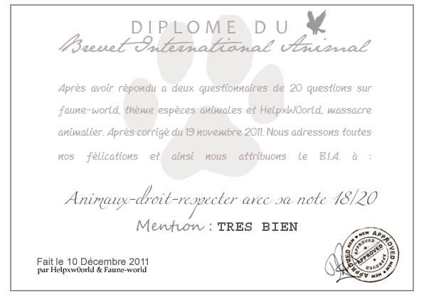 DIPLOME DU B.I.A. : Animaux-droit-respecter