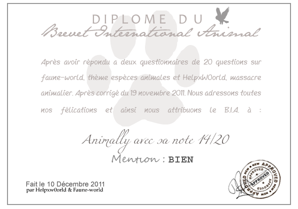 DIPLOME DU B.I.A. : ANIMALLY