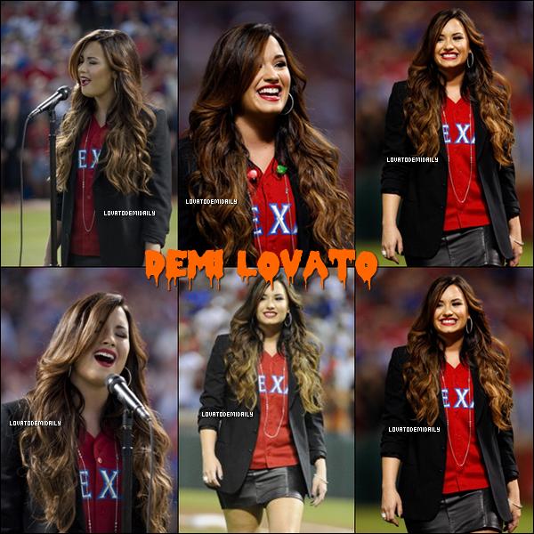 24/11/2011 : Demi a interprétée l'hymne national américain lors d'un match de baseball à Arlington, Texas  .  Ton avis sur sa tenue TOP / FLOP ?
