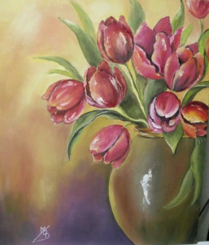 Bouquet de tulipes peinture a l huile de marie c d for Bouquet de tulipes