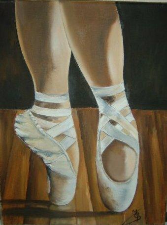 chaussons de danses les pointes peinture a l huile de. Black Bedroom Furniture Sets. Home Design Ideas