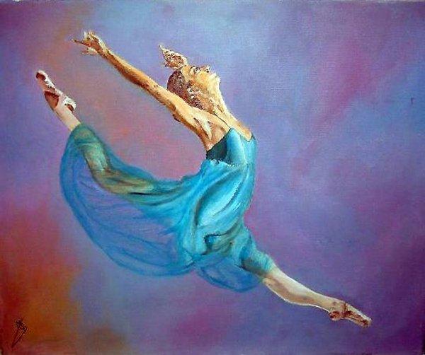 Danseuse en mouvement peinture a l huile de marie c d - Peinture les danseuses ...