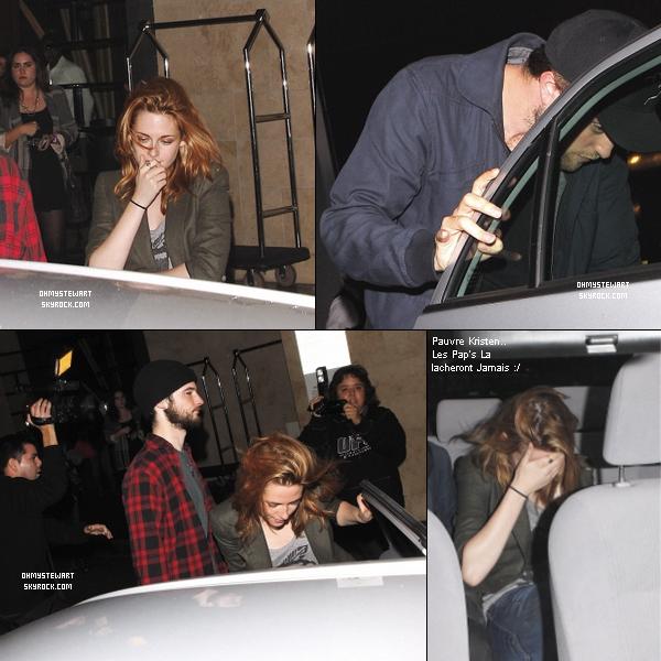 Catégorie ; Candids.  ♦ 9 0ctobre 2010 ;  Kristen , Robert & Tom ( BF de Rob' ) quittant l'hôtel Thompson à Beverly Hills.