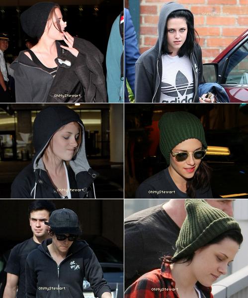Kristen a toujours un truc sur la tête que ce soir Capuche , Bonnet en laine , Casquette ,..