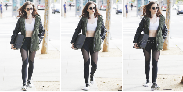 13/04/2017: Lily a été vue alors qu'elle quittait son cours de gym, à West Hollywood. Lily porte encore et toujours une tenue de sport, son legging est top, tout comme ses lunettes de soleil. Une jolie tenue!