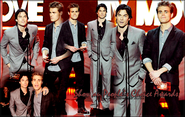 A P P A R E N C E ▬ Ian Somerhalder & Paul Wesley au People Choice Award 2012. MAGIQUE ! Que dire ... Je les trouves juste sublimement fantastique ! Je suis déçus qu'ils n'est pas gagner de prix ! Les deux le méritaient beaucoup. Et vous ?