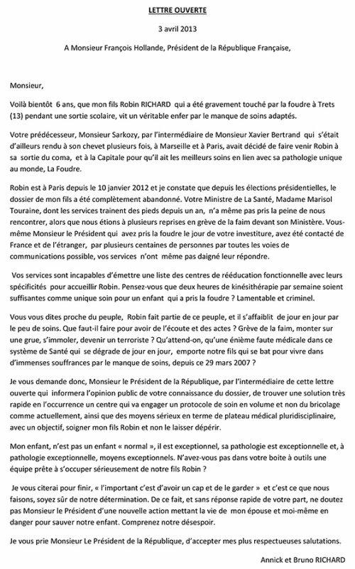 Lettre ouverte à Monsieur François Hollande, pour Robin