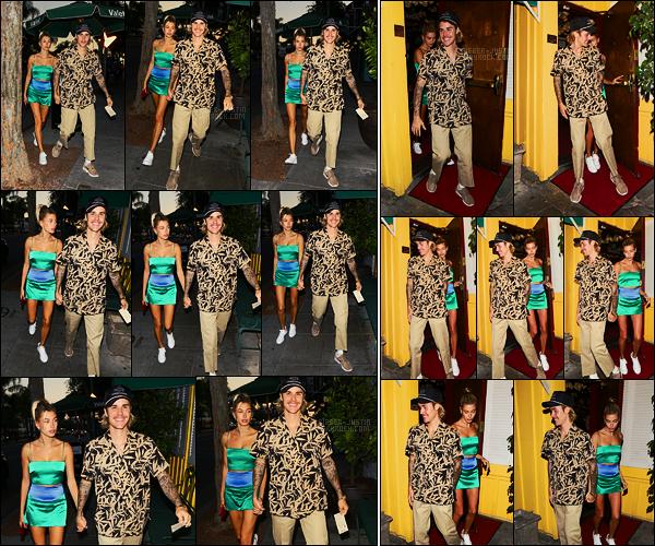 31/08/18 - Justin Bieber et Hailey Baldwin aperçus sortant du restaurant Dan Tana's, West HollywoodJ'aime beaucoup cette dernière sortie du mois, ils étaient en phase, et sublimes ensemble, vous l'auriez compris je suis toujours aussi gaga de ce couple