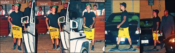 • 29 juillet 2017 || C'est sortant du restaurant japonnais le « Nobu » que le chanteur canadien à été aperçue à Malibu. Le chanteur Justin Bieber photographier ne quitte donc jamais sa merch. Un petit top à la tenue assee banale du Bieb's.•