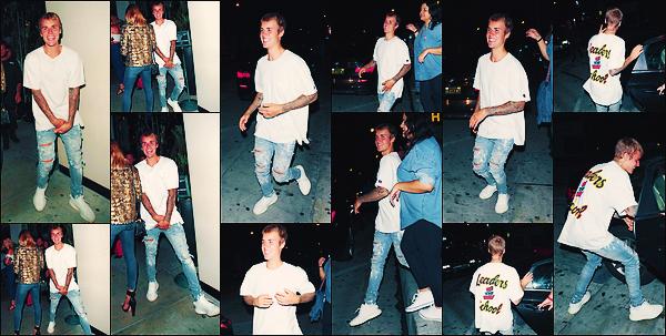 • 23 aout 2017 || Justin Bieber à été photographié tout souriant, quittant le « Catch » à West Hollywood. C'est aperçue par les paparazzi que le canadien à été vu en compagnie d'amis. Un top pour la tenue de chanteur de « Love Yourself ».•
