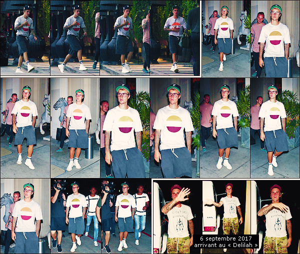 • 04 septembre 2017    Justin Drew Bieber à été photographié arrivant devant un hôtel dans Hollywood. Il à été vu sortant du « Mastro's Steakhouse » avec son ami d'enfance, Ryan Bulter. Le 06, il à été vu arrivant au club, « Delilah » !•