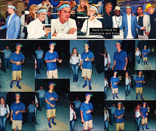 • 13 septembre 2017 || Le Bieb's à été photographié sortant du « Saban Theater » dans Beverly Hills. Le 12 septembre, notre canadien à participé au « Hand in Hand  : A Benefit for Hurricane and Irman Relief » à Universal City.•