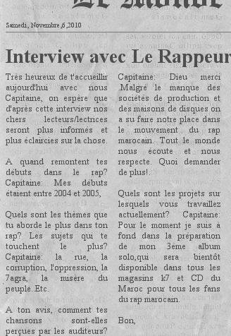 "Interview avec Capitaine Sur : ""Le monde"""