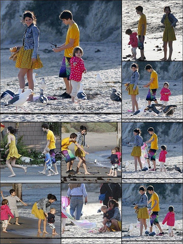 .17/02:Comme une famille, Sel & Justin B. étaient a une plage de Malibu.Ils étaient avec les petits-frères(soeurs) de Justin.
