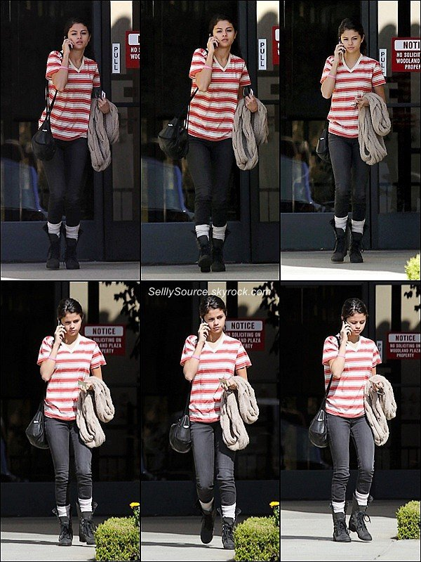 .18/02: Selena, quittant un bureau dans la ville de WoodLand Hills.18/02:Après s'être changé, elle rejoint la famille Bieber, pour allée dans un resto' japonais..