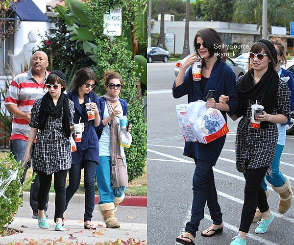 .1 Novembre 2008 : Sel' en compagnie de Demi et de Dallas et d'un garde du cops, ils y quittant le McDonald's. Article Flash-Back .
