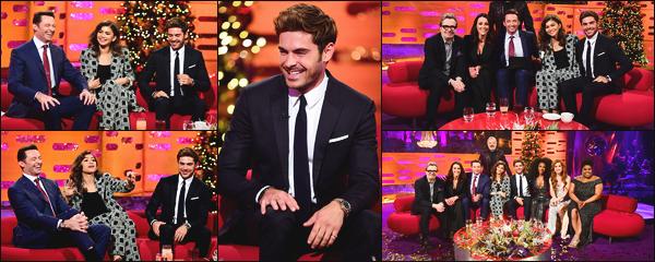 31.12.17 ▬ Zac Efron était présent sur le plateau du Graham Norton Show avec le cast de The Greatest Showman.