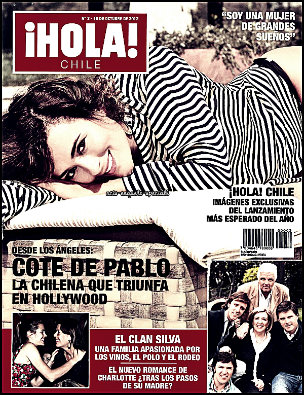 """Cote de Pablo : """"¡Hola! Chile"""" - Couverture + Photoshoot - Octobre 2012"""