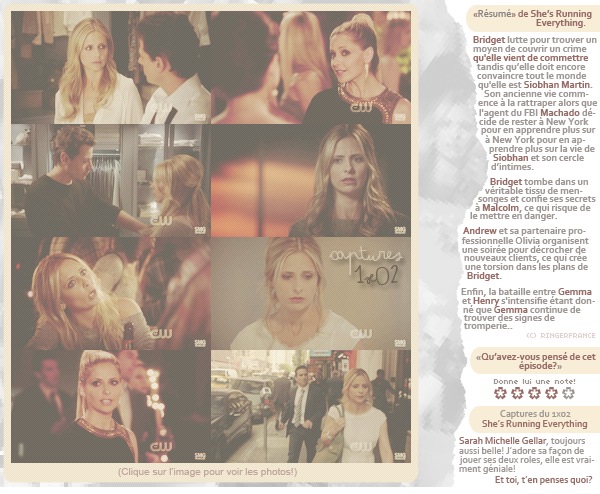 "[ www.RINGERFRANCE.skyrock.com ]      RINGER 1x02 : ""SHE'S RUNNING EVERYTHING"" CAPTURES (22/09/11)"
