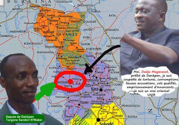 Togo, Exemple à suivre : Le valeureux peuple de Dankpen ne se laisse plus intimider par l'énergumène préfet Dadja Maganawé.  Injustice et violences en perspective à Dankpen. La présence du député Targone présentée comme préalable à la campagne électorale de l'UNIR dans la localité