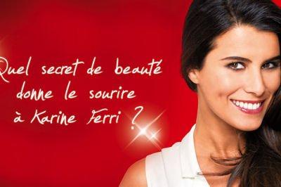 """Grâce à son sourire éclatant, Karine Ferri a été choisie pour représenter le nouveau produit de la célèbre marque bucco-dentaire """"Colgate MaxWhite One optic""""."""