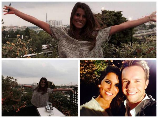 Photos de Karine lors tournage du « Bêtisier de l'été » sur les toits de Paris. Il sera diffusé le 11 juillet prochain sur TF1
