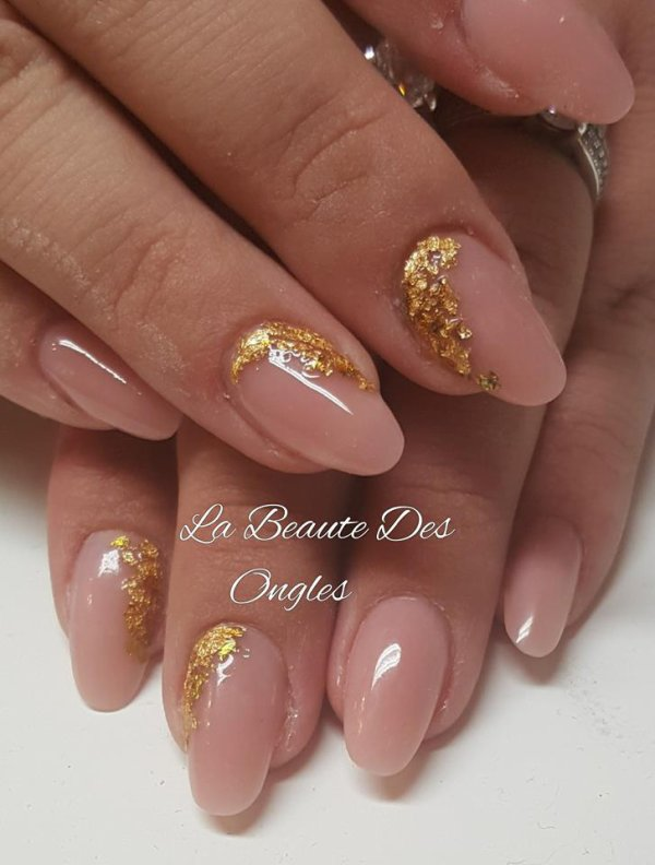 Pose acrygel cover et feuille d Or