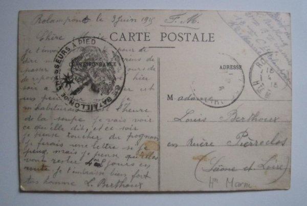 carte postale du 61 chasseur a pied