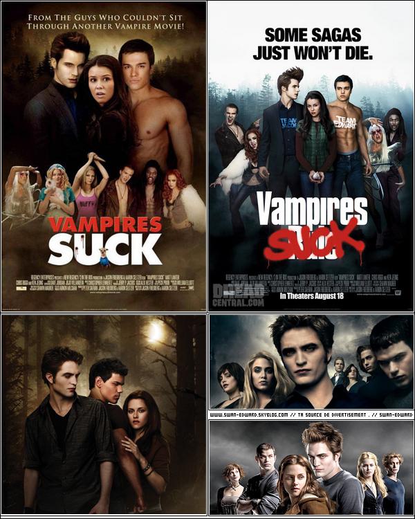 __ QUE PENSE TU DU FILM VAMPIRES SUCK     Je trouve sa totalement ridicule ce film, je les vue en steaning est je le conseil a personnes . __ __