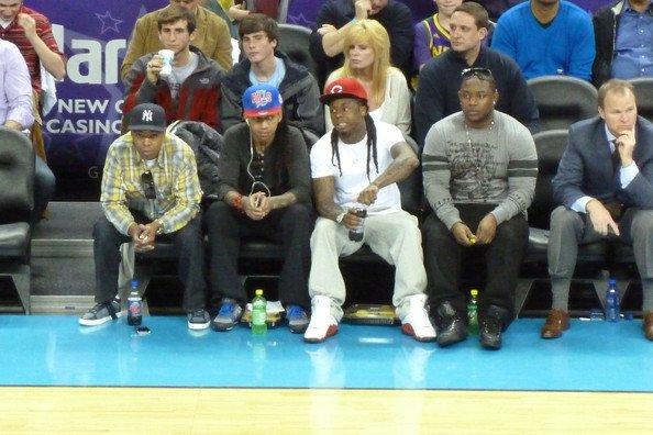 lil wayne au match de basketteball (Lakers)