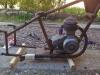 cadre avec le moteur et le pot d'echappement