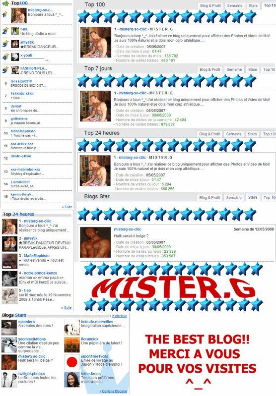 MISTER.G EXCLU DU TOP 100 - TOP 7 JOURS - TOP 24 HEURES - BLOG STAR!