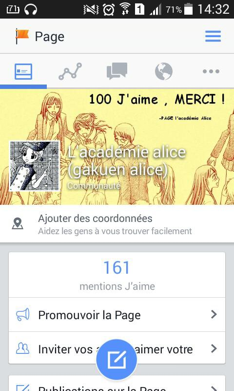 Page Facebook sur Gakuen Alice,  Remixer !!