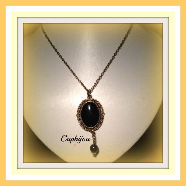 Parure de bijoux bronze et  onyx